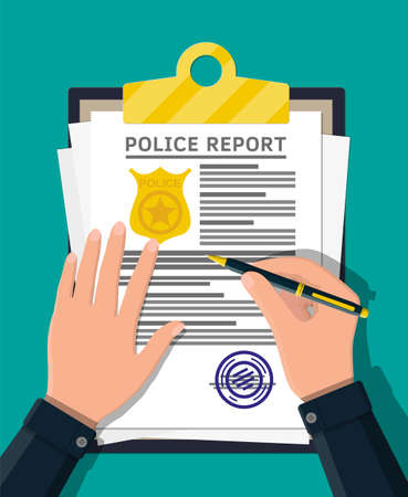 경찰 보고서와 손에 펜 클립 보드. 골드 경찰 배지가있는 보고서 시트. 법적 벌금 문서 및 스탬프가있는 용지 더미. 플랫 스타일의 벡터 일러스트 레이션