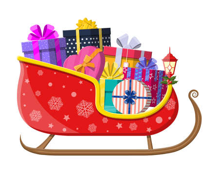 Santa claus sleigh with gifts