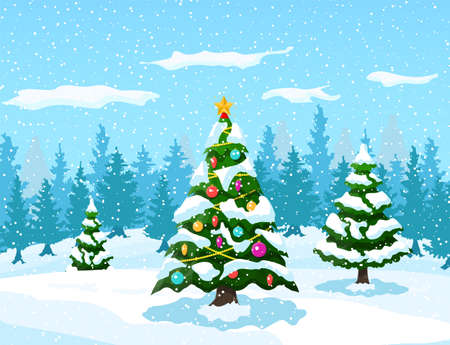 Christmas background. Christmas tree with garlands and balls. Winter landscape with fir trees forest and snowing. Happy new year celebration. New year xmas holiday. Vector illustration flat style Illustration