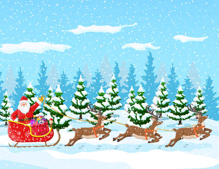 Christmas background. Santa claus rides reindeer sleigh. Winter landscape with fir trees forest and snowing. Happy new year celebration. New year xmas holiday. Vector illustration flat style