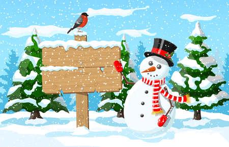 Christmas winter landscape vector illustration Illustration