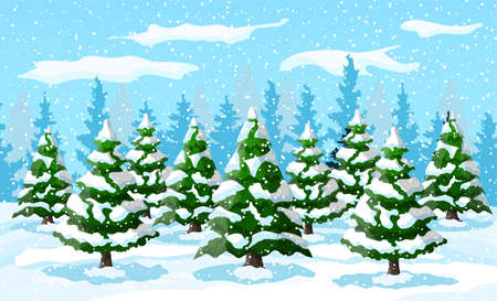 Winter landscape with white pine trees on snow hill. Christmas landscape with fir trees forest and snowing. Happy new year celebration. New year xmas holiday. Vector illustration flat style Illustration