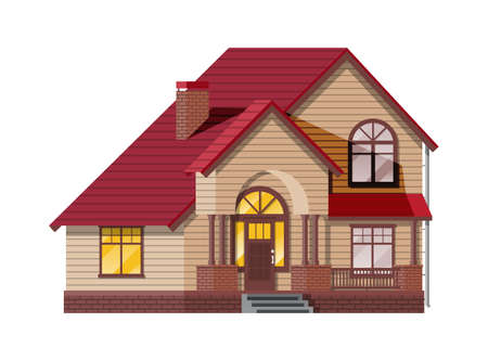 Suburban family house. Countryside wooden house icon. Isometric building. Real estate and rent. Vector illustration in flat style
