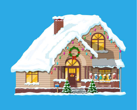 Suburban house covered snow. Building in holiday ornament. Christmas tree spruce, wreath. Happy new year decoration. Merry christmas holiday. New year and xmas celebration. Vector illustration