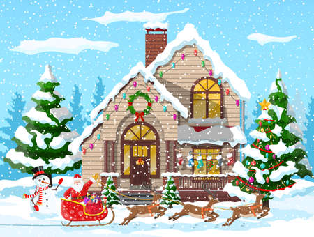 Suburban house covered snow. Building in holiday ornament. Christmas landscape tree, snowman, santa sleigh reindeers. New year decoration. Merry christmas holiday xmas celebration. Vector illustration