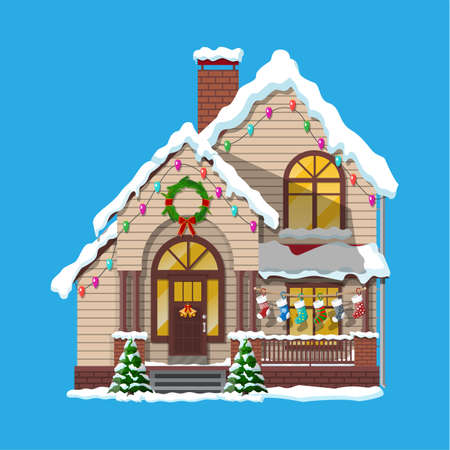 Suburban house covered snow. Building in holiday ornament. Christmas tree spruce, wreath. Happy new year decoration. Merry christmas holiday. New year and xmas celebration. Vector illustration Vettoriali