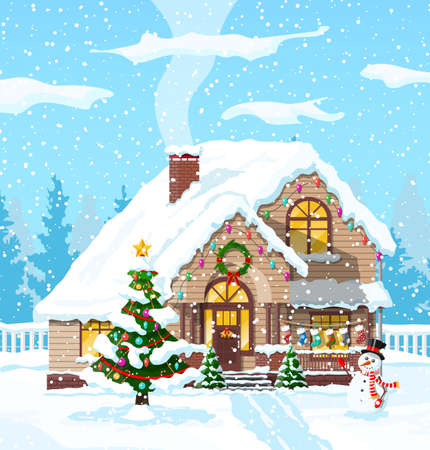 Suburban house covered snow.