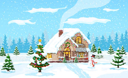 Suburban house covered snow. Building in holiday ornament. Christmas landscape tree spruce, snowman. Happy new year decoration. Merry christmas holiday. New year xmas celebration. Vector illustration