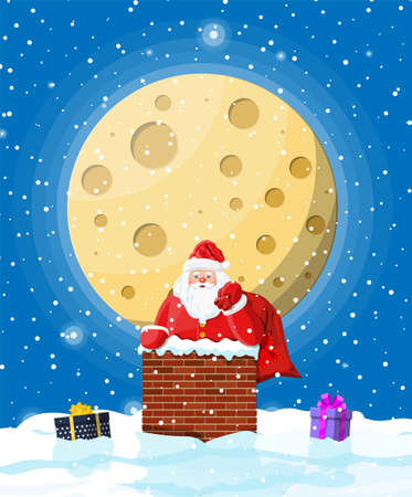 Santa claus with bag with gifts in house chimney, gift boxes in snow. Happy new year decoration. Merry christmas eve holiday. New year and xmas celebration. Vector illustration in flat style Stock Photo