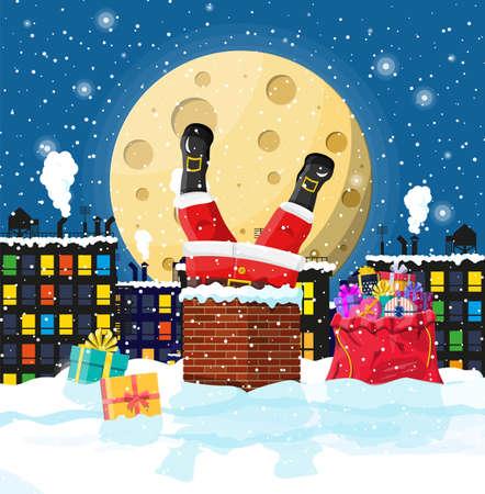 Weihnachtsmann mit Tasche mit Geschenken im Hauskamin stecken, Geschenkboxen im Schnee. Frohes neues Jahr Dekoration. Frohe Weihnachtsfeiertage. Neujahrs- und Weihnachtsfeier. Vektorillustration im flachen Stil