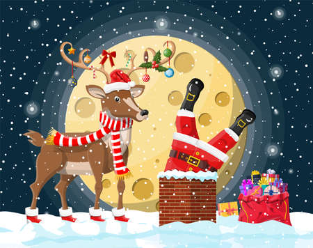 Santa claus with bag with gifts stuck in house chimney, gift boxes in snow, reindeer. Happy new year decoration. Merry christmas eve holiday. New year xmas celebration. Vector illustration flat style