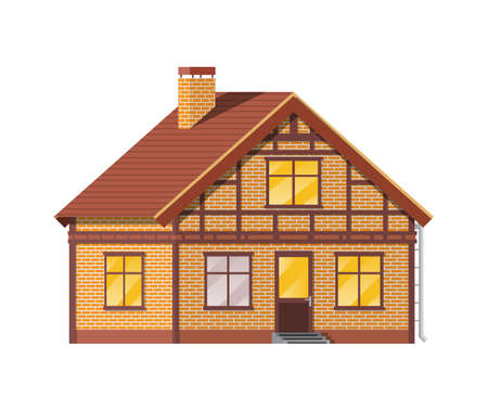 Suburban family house. Countryside brick house icon. Isometric building. Real estate and rent. Vector illustration in flat style