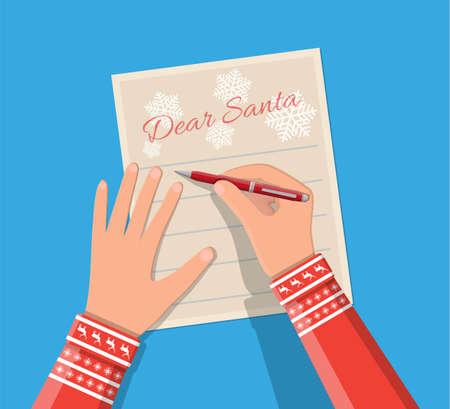 Child hand with pen writing letter to santa claus. Holidays wishlist. Christmas new year eve xmas holidays. Vector illustration flat style Stock Photo