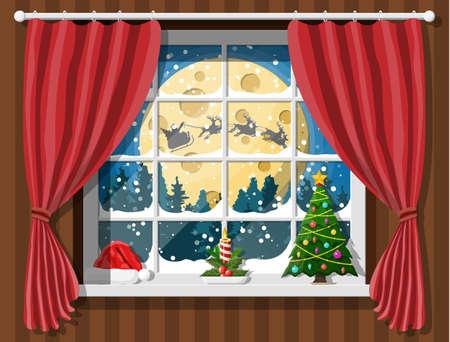 Santa claus and his reindeer looks in room window.