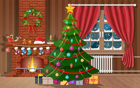 Christmas interior of room vector llustration