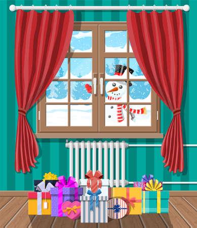 Snowman looks in living room window. Illustration