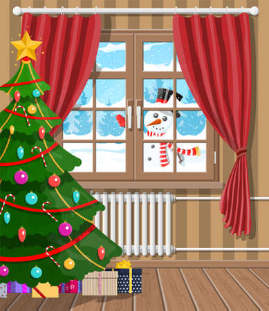 Snowman looks in living room window. Illustration