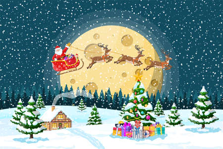 Suburban house covered snow. Building in holiday ornament. Christmas landscape tree, santa sleigh reindeers. New year decoration. Merry christmas holiday xmas celebration. Vector illustration