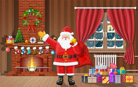 Christmas interior of room with window, santa claus gifts and decorated fireplace. Happy new year decoration. Merry christmas holiday. New year and xmas celebration. Vector illustration flat style