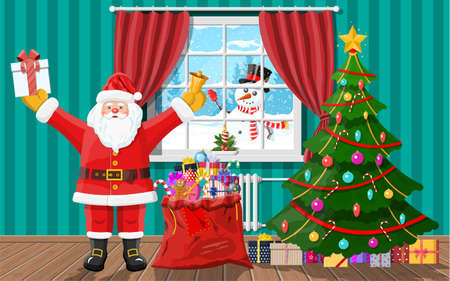 Snowman looks in living room window. Santa in room with christmas tree and gifts. Happy new year decoration. Merry christmas holiday. New year and xmas celebration. Vector illustration flat style
