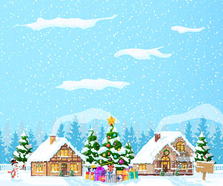 Suburban houses covered snow. Building in holiday ornament. Christmas landscape tree spruce, snowman. Happy new year decoration. Merry christmas holiday. New year xmas celebration. Vector illustration