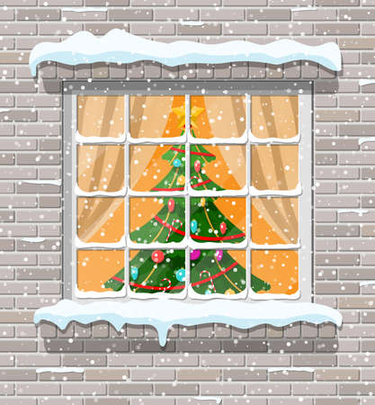 Christmas window in brick wall. Living room with christmas. Happy new year decoration. Merry christmas holiday. New year and xmas celebration. Vector illustration flat style Stock Photo