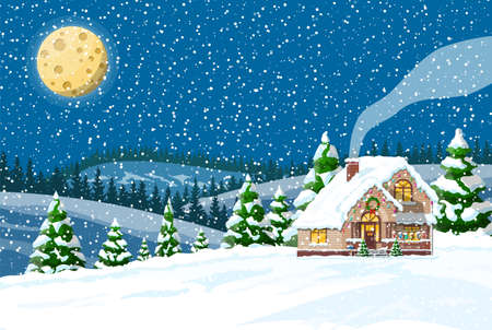 Suburban house covered snow. Building in holiday ornament. Christmas landscape tree spruce, fence. Happy new year decoration. Merry christmas holiday. New year xmas celebration. Vector illustration