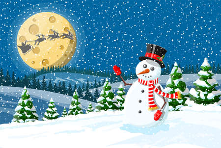 Winter christmas background. Snowman, pine tree and snow. Winter landscape with fir trees forest and snowing. Happy new year celebration. New year xmas holiday. Vector illustration flat style