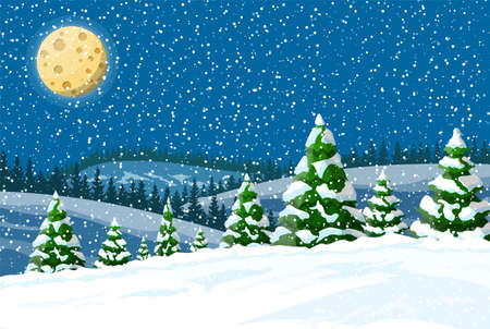 Winter landscape with white pine trees on snow hill in night. Christmas landscape with fir trees forest and snowing. Happy new year celebration. New year xmas holiday. Vector illustration flat style