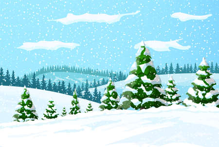 Winter landscape with white pine trees on snow hill. Christmas landscape with fir trees forest and snowing. Happy new year celebration. New year xmas holiday. Vector illustration flat style Иллюстрация