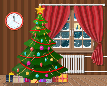 Interior of room with christmas tree and gifts. Happy new year decoration. Merry christmas holiday. New year and xmas celebration. Vector illustration flat style