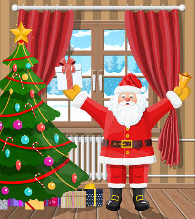 Santa in room with christmas tree and gifts. Happy new year decoration. Merry christmas holiday. New year and xmas celebration. Vector illustration flat style Illustration