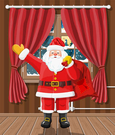 Christmas interior of room with window, santa claus gifts. Happy new year decoration. Merry christmas holiday. New year and xmas celebration. Vector illustration flat style