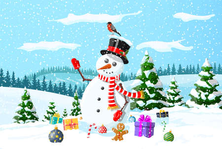 Winter christmas background. Snowman, gifts, pine tree and snow. Winter landscape with fir trees forest and snowing. Happy new year celebration. New year xmas holiday. Vector illustration flat style