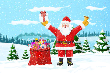 Christmas background. Santa claus with bag with gifts. Winter landscape with fir trees forest and snowing. Happy new year celebration. New year xmas holiday. Vector illustration flat style Иллюстрация