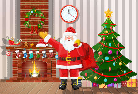 Christmas interior of room with tree, santa claus gifts and decorated fireplace. Happy new year decoration. Merry christmas holiday. New year and xmas celebration. Vector illustration flat style