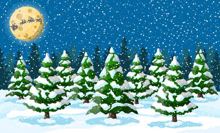 Winter christmas background. Pine tree wood and snow. Winter landscape with fir trees forest and snowing. Happy new year celebration. New year xmas holiday. Vector illustration flat style