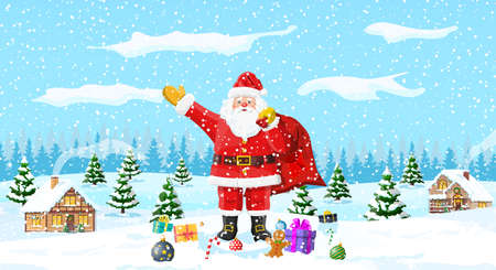 Christmas background. Santa claus with bag with gifts. Winter landscape with fir trees forest and snowing. Village. Happy new year celebration. New year xmas holiday. Vector illustration flat style Illustration