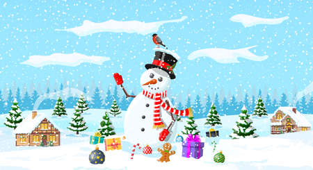 Winter christmas background. Snowman, gifts, pine tree and snow. Winter landscape with fir trees forest and village. Happy new year celebration. New year xmas holiday. Vector illustration flat style Иллюстрация