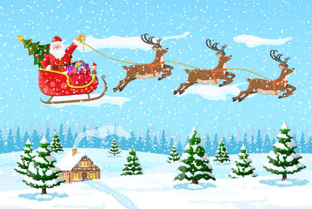 Christmas background. Santa claus rides reindeer sleigh. Winter landscape with fir trees forest and snowing. Happy new year celebration. New year xmas holiday. Vector illustration flat style Иллюстрация