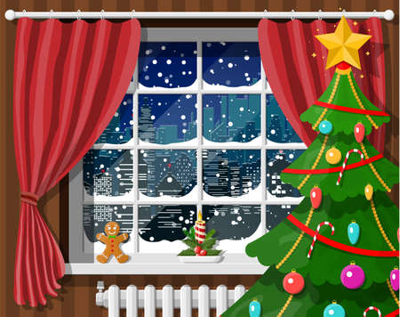 Snowy cityscape in window. Interior of room with christmas tree. Happy new year decoration. Merry christmas holiday. New year and xmas celebration. Vector illustration flat style