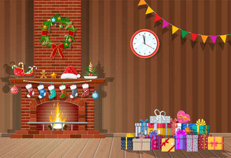 Christmas interior of room with clocks, gifts and decorated fireplace. Happy new year decoration. Merry christmas holiday. New year and xmas celebration. Vector illustration flat style