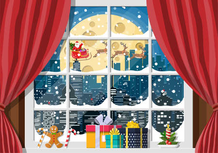 Snowy cityscape in window. Interior of room with curtains. Happy new year decoration. Merry christmas holiday. New year and xmas celebration. Vector illustration flat style Illustration