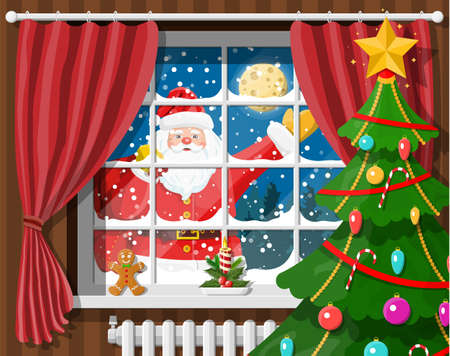 Santa in window of room with christmas tree and gifts. Happy new year decoration. Merry christmas holiday. New year and xmas celebration. Vector illustration flat style Illustration