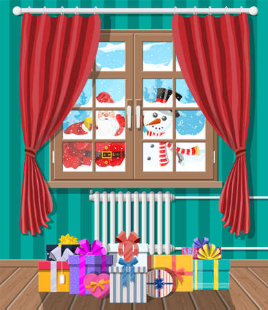 Santa and snowman looks in living room window. Gifts boxes. Happy new year decoration. Merry christmas holiday. New year and xmas celebration. Vector illustration flat style Çizim