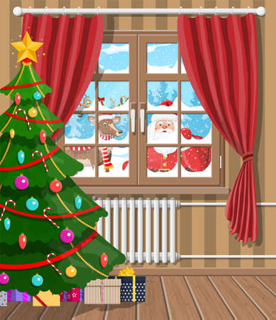 Santa claus and his reindeer looks in living room window. Interior of room with tree, gifts. Happy new year decoration. Merry christmas holiday New year xmas celebration Vector illustration flat style