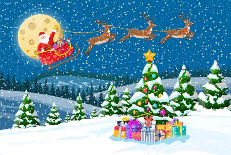 Christmas background. Tree gift boxes, santa claus rides reindeer sleigh. Night winter landscape fir trees forest fullmoon snowing. New year celebration xmas holiday. Vector illustration flat style