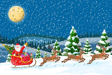 Christmas background. Santa claus rides reindeer sleigh. Night winter landscape with fir trees forest, fullmoon and snowing. New year celebration. New year xmas holiday. Vector illustration flat style Иллюстрация