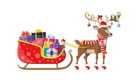 Santa claus sleigh full of gifts and his reindeer. Happy new year decoration. Merry christmas holiday. New year and xmas celebration. Vector illustration in flat style Иллюстрация
