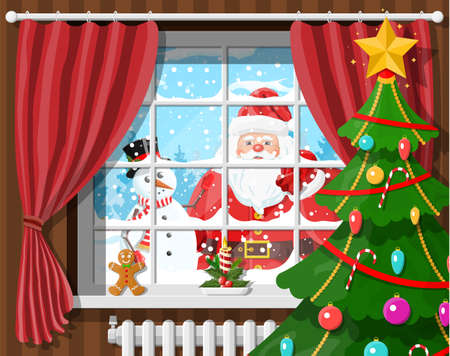Santa and snowman looks in living room window. Room with christmas tree and gifts. Happy new year decoration. Merry christmas holiday. New year and xmas celebration. Vector illustration flat style Çizim